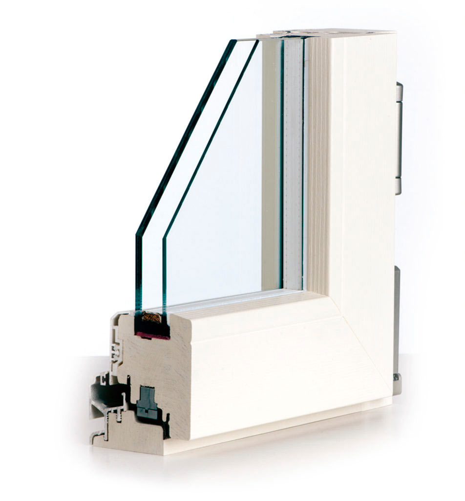 Dettaglio infisso stratek bianco legno alluminio