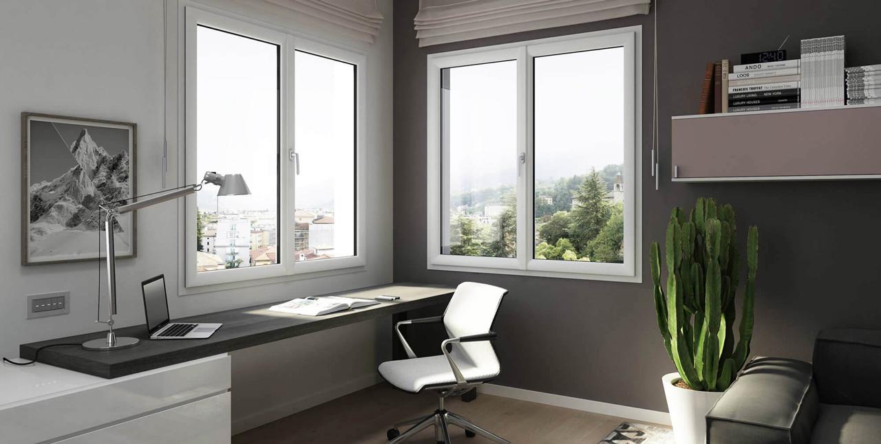 Sala moderna con installati infissi okonoplast